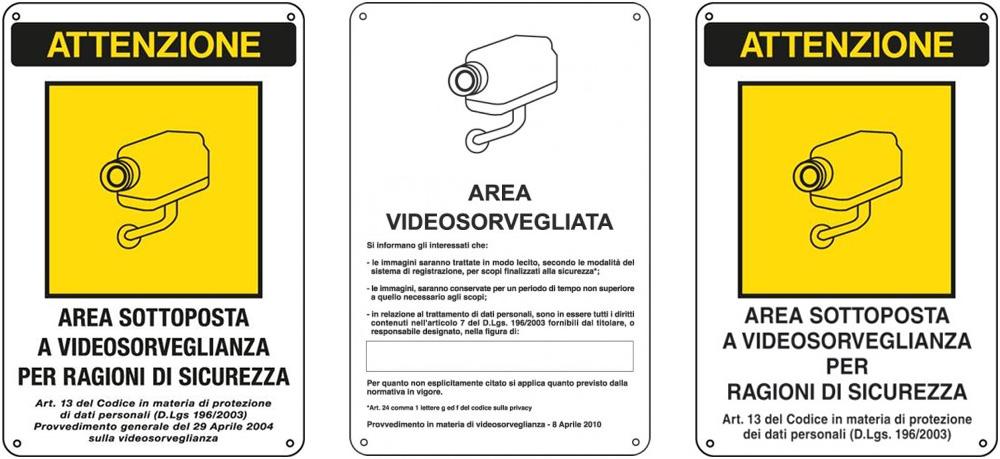 Aggiornamento sulla segnaletica di videosorveglianza cartelli