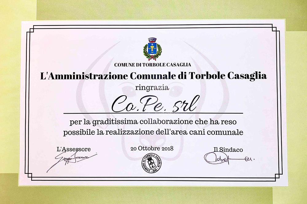 Certificato Area cani cope Torbole Casaglia