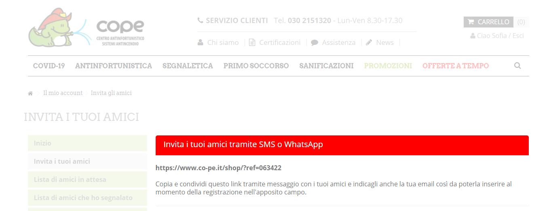 Invita i tuoi amici tramite whatsapp o sms